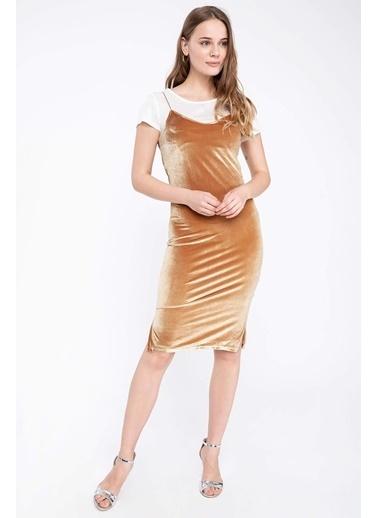 DeFacto İnce Askılı Kadife Elbise Sarı
